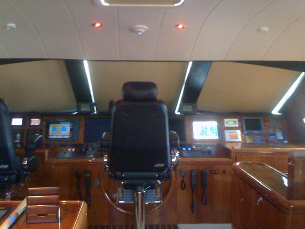 The single most effective window treatment for the yacht interior is the covering of the windshield.